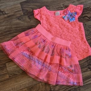 ♥️Girls Coral Pink Tulle and Lace Skirt Outfit